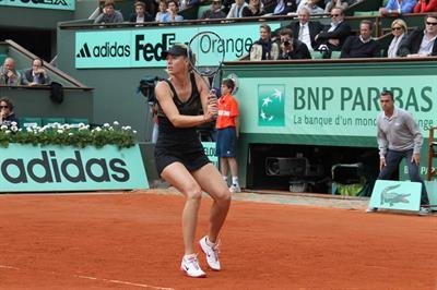 Maria Sharapova playing in Semi-Finals of 2012 Women's French Open Tennis Tournament June 7, 2012