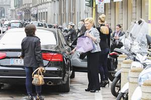 Michelle Hunziker leaving a restaurant in Italy October 10, 2012