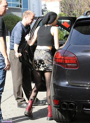 Miley Cyrus arriving at a recording studio in Hollywood 11/14/12