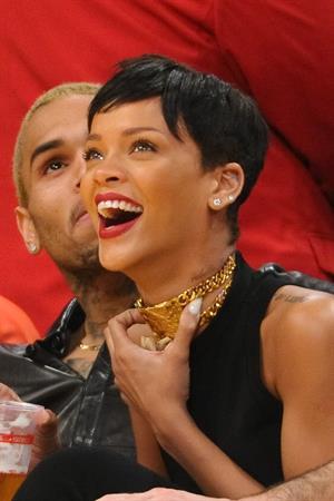 Rihanna New York Knicks vs Los Angeles Lakers in Los Angeles on December 25, 2012