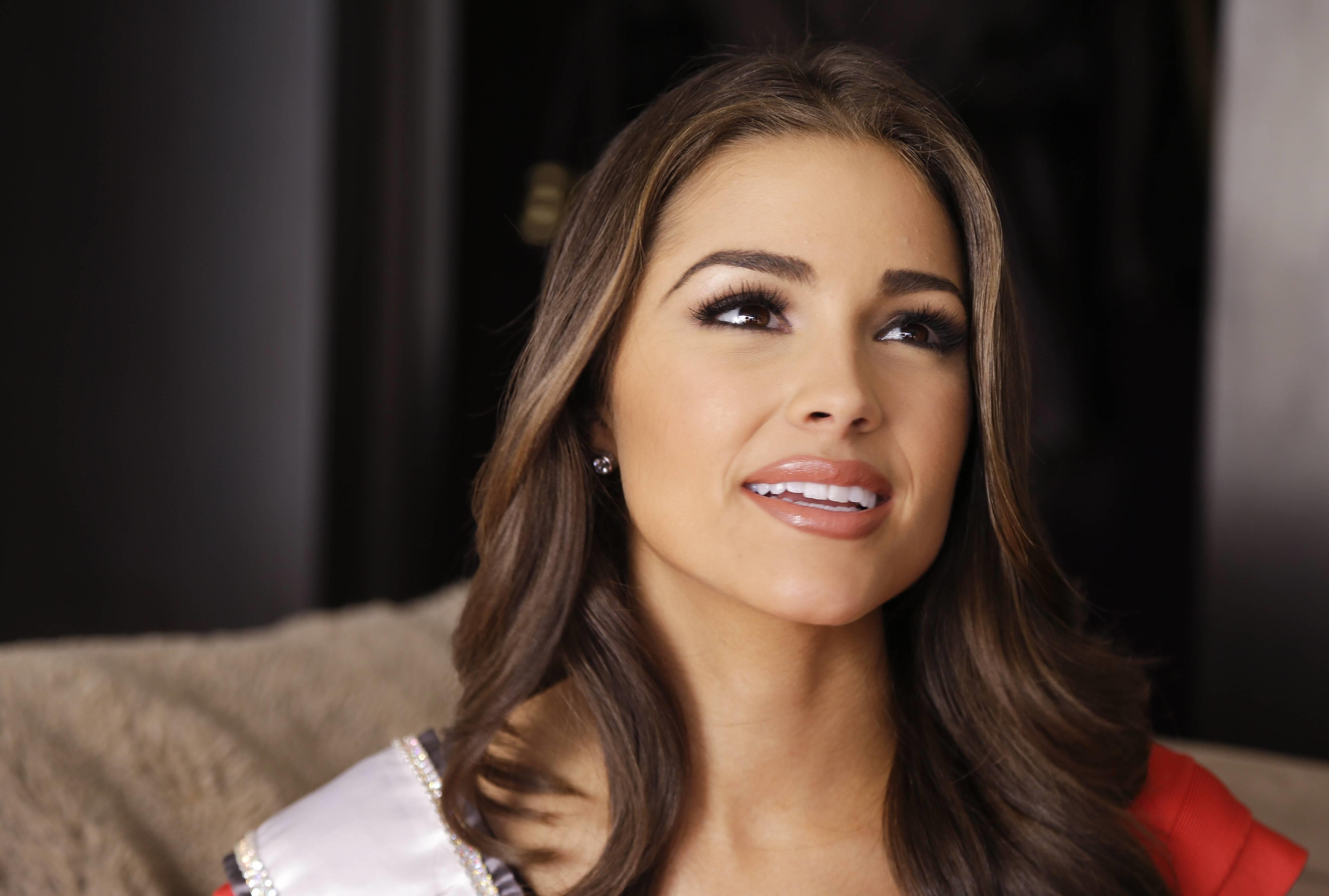 Olivia Culpo during an interview the morning after winning the Miss Universe pageant (Dec 20, 2012)