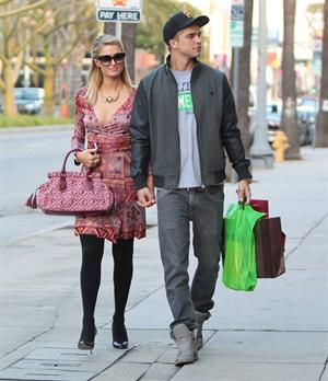 Paris Hilton and River Viiperi shop in Beverly Hills. February 9, 2013