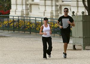Scarlett Johansson - Jogging in the Jardin du Luxembourg in Paris on August 20, 2012