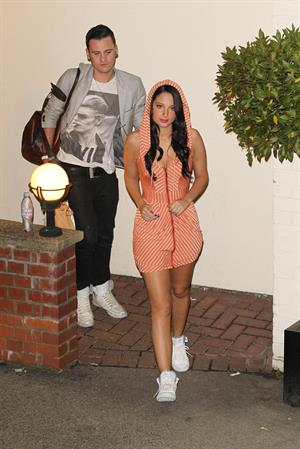 Tulisa Contostavlos leaving Factor studios London 10/7/12
