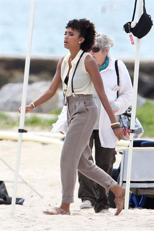 Annie Ilonzeh filming Charlie's Angels on a beach in Miami 02-09-11