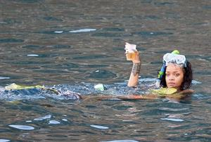 Rihanna enjoying a break on a yacht in Ponza August 29,