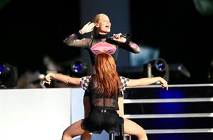 Iggy Azalea and Rita Ora performing almost kissing at the 2014 Budweiser Made in America Festival in Los Angeles, August 30, 2014