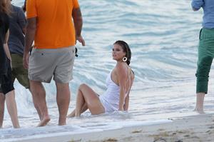 Nina Agdal (94) Photoshoot for Bebe in Miami - November 12, 2013