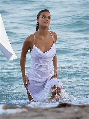 Nina Agdal Photoshoot for Bebe in Miami - November 12, 2013