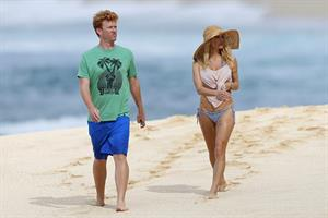 Pamela Anderson Takes a walk in bikini bottoms on the Island of Maui December 30, 2012