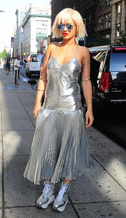 Rita Ora visiting Fox and Friends August 19, 2014