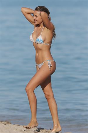 Tetyana Veryovkina in a bikini on a beach in Miami