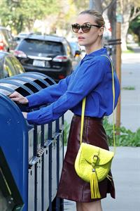 Jaime King wearing a blue blouse and a skirt in Beverly Hills (April 16, 2013)