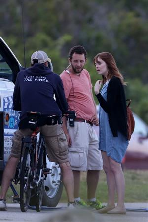 Emma Stone on the set of an untitled Woody Allen project in Newport July 28, 2014