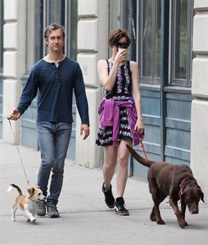 Anne Hathaway out walking with her husband in New York City