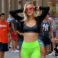 Joy Corrigan sexy ass in tight pants and boobs with hard nipples in New York.