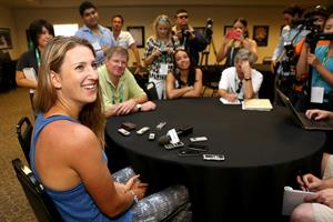 Victoria Azarenka speaks to the media during All Access Hour during Day1 of the BNP Paribas Open in Indian Wells