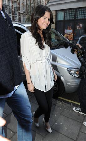 Selena Gomez arrives at BBC radio 1 in London on April 11, 2010