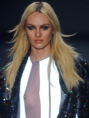 Candice Swanepoel Nipslip at a fashion show in Sao Paulo